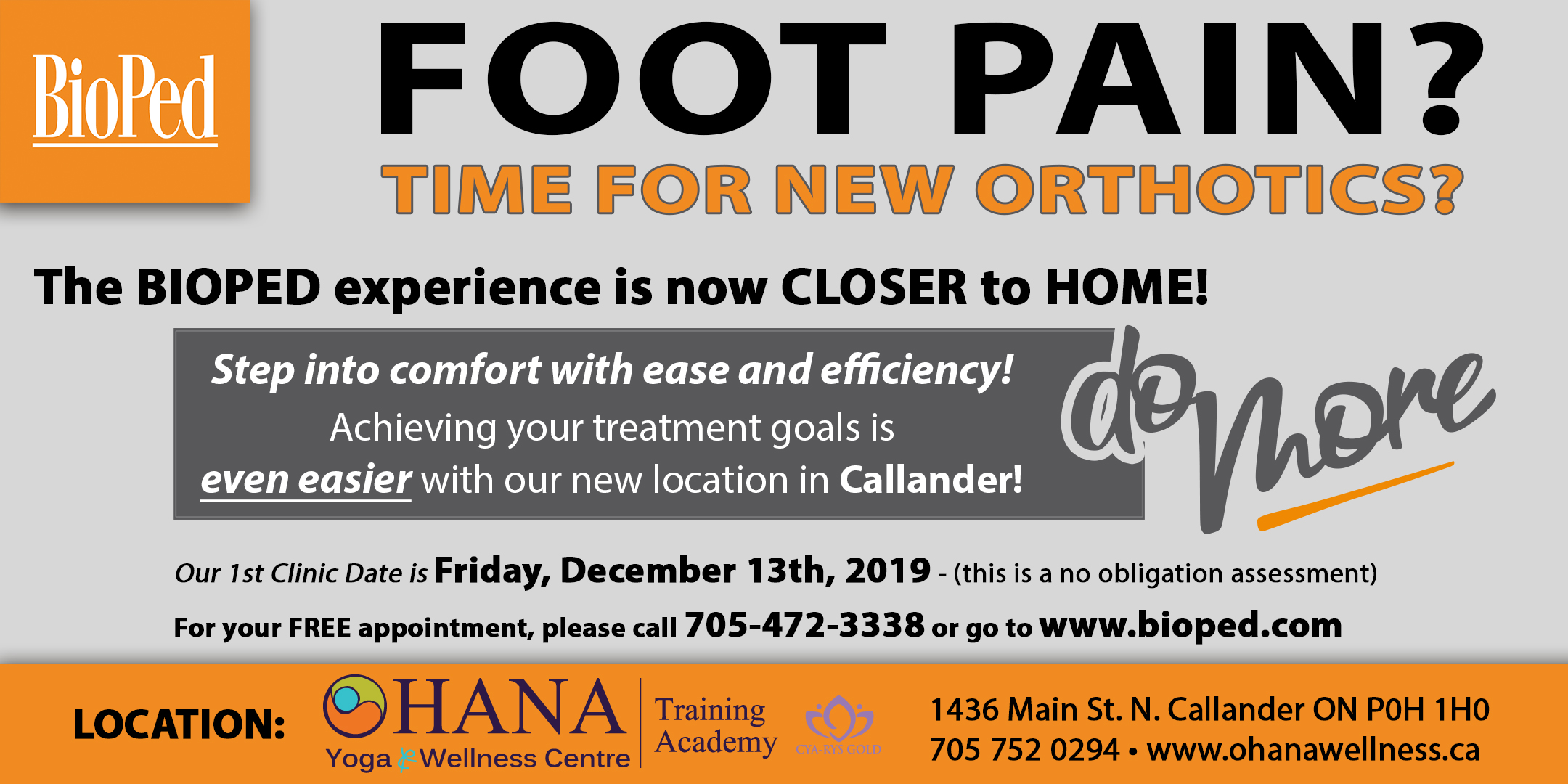 Foot Pain - BIOPED no obligation assessment at OHANA