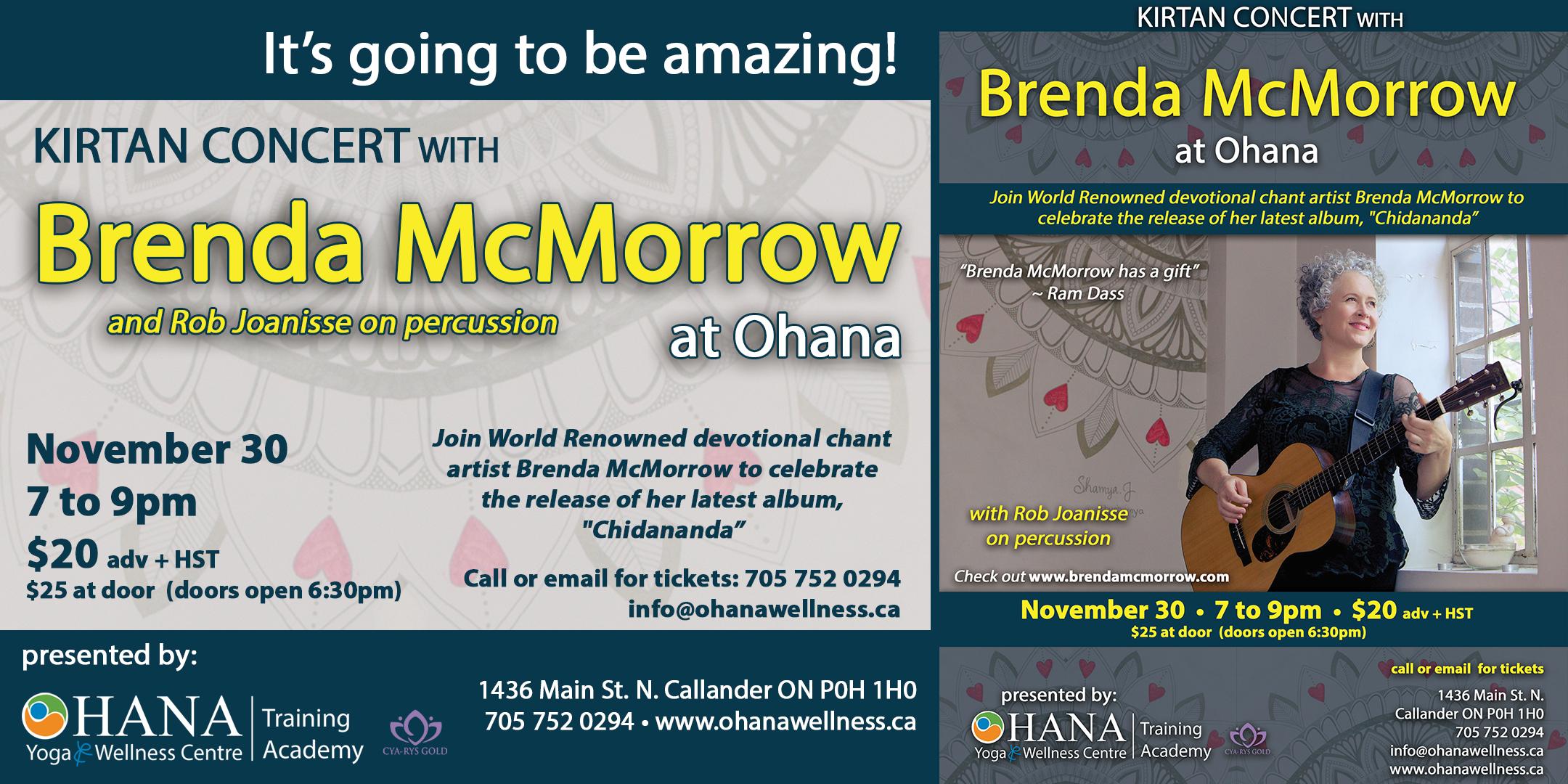 Kirtan Concert with Brenda McMorrow at Ohana Yoga & Wellness Centre